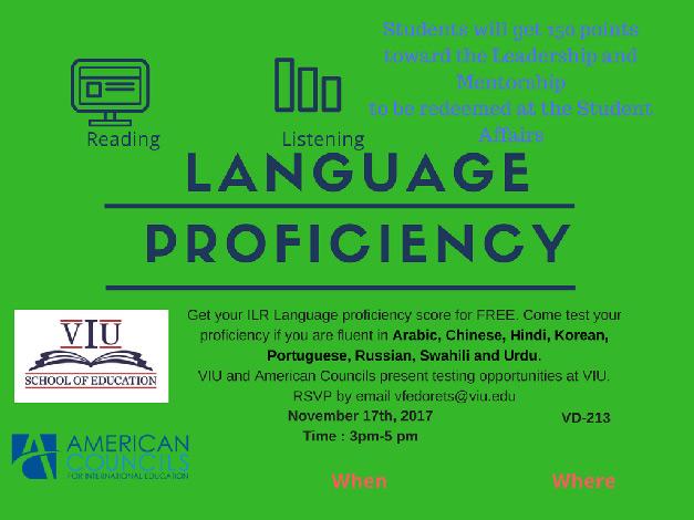 School of Education Presents: Language Proficiency